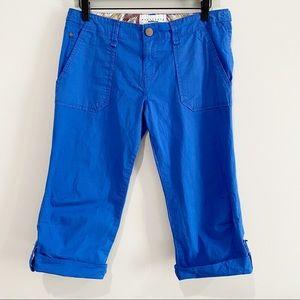 SANCTUARY SURPLUS Cobalt Blue Roll Tab Capri Pants